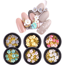 1 Boxes 3D Mix-shape Nail Art Decoration Flower Metal Studs Flat Rhinestones Beads Mixed Glitter Jewels For Manicure DIY Y8