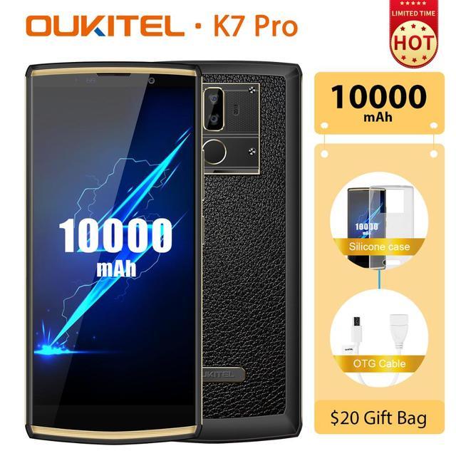 هاتف ذكي OUKITEL K7 Pro يعمل بنظام الأندرويد 9.0 مع خاصية بصمة الإصبع بقدرة 10000 مللي أمبير في الساعة هاتف محمول 9 فولت/2 أمبير MT6763 ثماني النواة ذاكرة وصول عشوائي 4 جيجا وذاكرة داخلية 64 جيجا وشاشة 6.0 بوصة فائقة الوضوح + 18:9