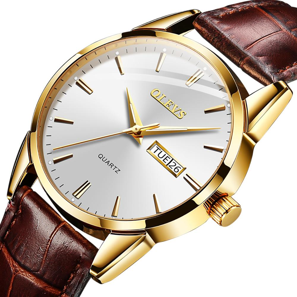 OLEVS 2020 New Best Selling Mens Watches Luminous Dual Display Leather Waterproof Sport Quartz Watch For Men Relogio Masculino 4