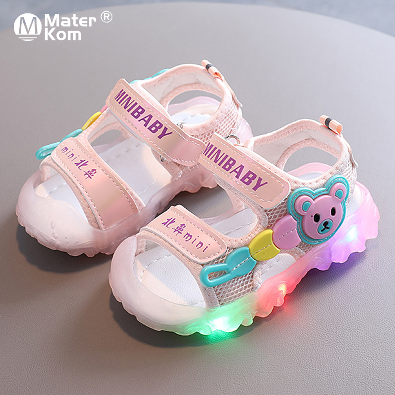 Size 21-30 Children Led Light Shoes Baby Anti-slippery Shoes Unisex Glowing Sandals Girls Breathable Sandals With Luminous Sole