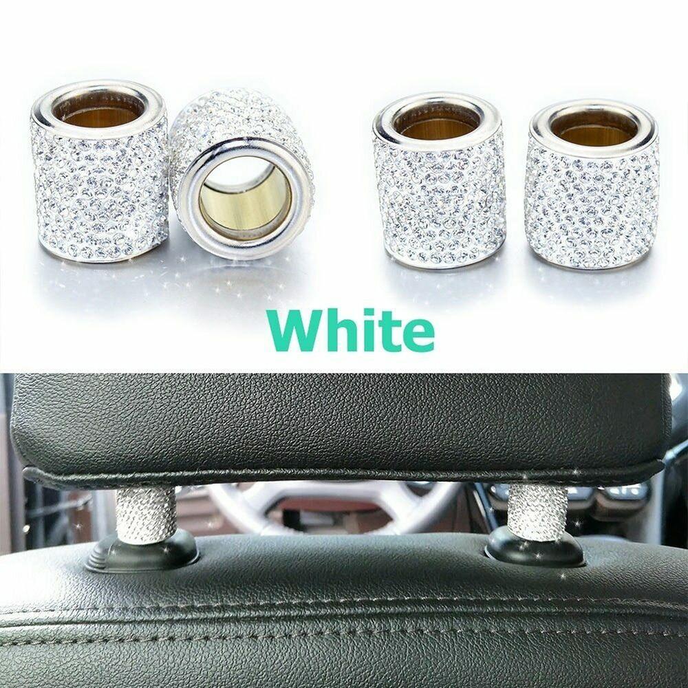 Car Interior Accessories Headrest 2Pcs Car Seat Crystal Headrest Decor Ring Collars Girls Rhinestone Diamond Rhinestone