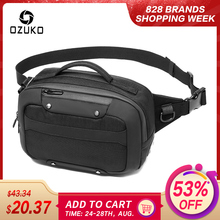 OZUKO Multifunction Waterproof Waist Bag Men USB Crossbody Belt Bag Small Phone Pouch Bags Male Short Travel Chest Fanny Pack