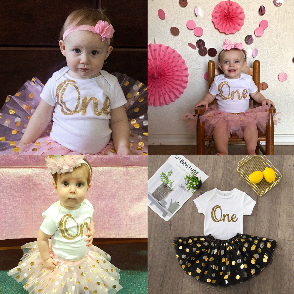 ONEderful Birthday Pink Gold Outfit 1st Birthday Party Girls Outfits Cake Smash Tutu+baby Bodysuits Summer Set Fashion Wear 4