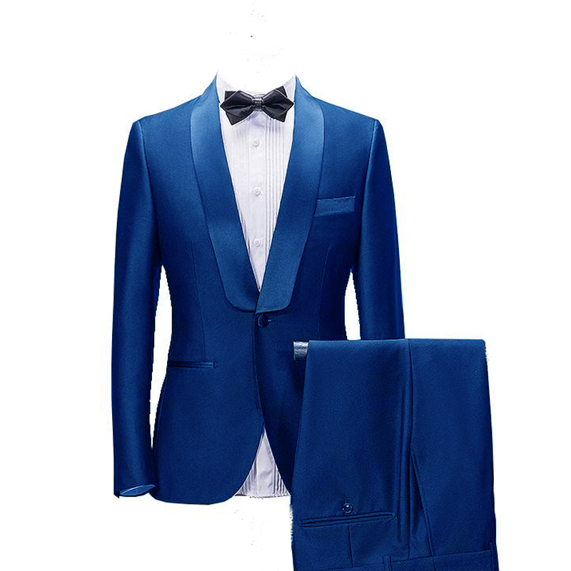 2020 One Button Men Wedding Two Pieces Suits Fit Tuxedos Fashion For Groom Best Man Business Career Dinner Suits(Jacket+Pants)