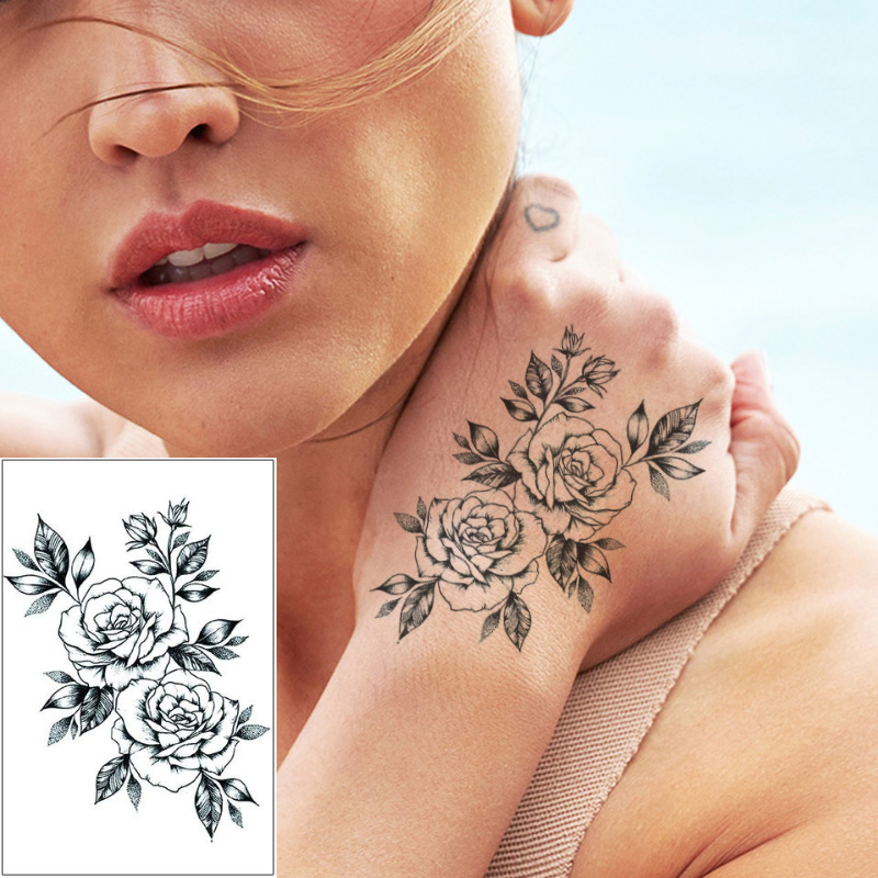 Fake Black Sketch Rose Flower Full Hands Design Temporary Waterproof Tattoo Sticker White Black Drawing Water Transfer Tattoo 3D