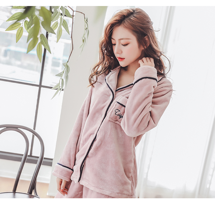Plus Size 3XL 4XL 5XL Pajamas for women 2019 Winter Thicken Flannel pyjamas Long-sleeve lovely Sleepwear Coral Fleece Nightgowns 161