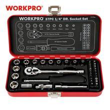 """WORKPRO 37PC 1/4 """"zestaw narzędzi Sokcet zestaw narzędzi do naprawy domu metalowe pudełko klucz dynamometryczny z grzechotką"""