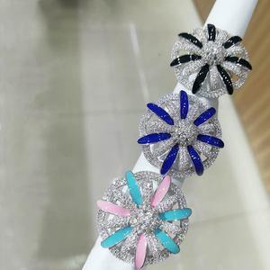 Image 1 - GODKI 2019 Trendys מקסי פרח צבעוני CZ ערימות טבעות אצבע נשים טבעות חרוזים קסם טבעת בוהמי חוף תכשיטי 2019