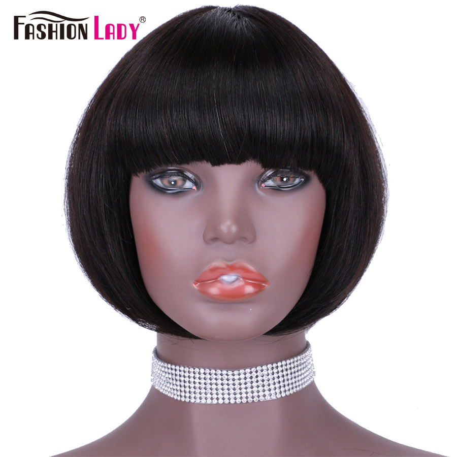 Fashion Lady Machine Wigs Straight Hair Short Bob Wigs With Bang
