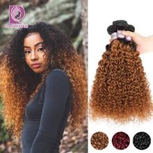 Racily cheveux Ombre cheveux paquets brésilien crépus bouclés cheveux armure paquets Remy T1B/30 brun bourgogne Ombre Extensions de cheveux humains