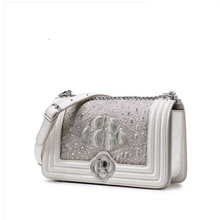ouluoer Thai crocodile leather single shoulder bag cross body chain bag xiao xiangfeng leather lady bag white small square bag bev new alligator leather single shoulder bag fashion trend leisure lady real crocodile bag women chain bag female bag black