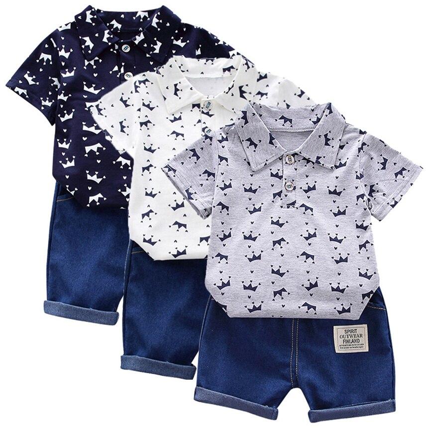 Летняя одежда для мальчиков, футболка с рисунком короны для маленьких мальчиков, топы + джинсовые брюки, повседневный комплект