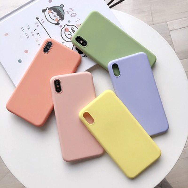 KJOEW Silicone Solid Candy Color Phone Shell for iPhone 11 Pro Max XR X