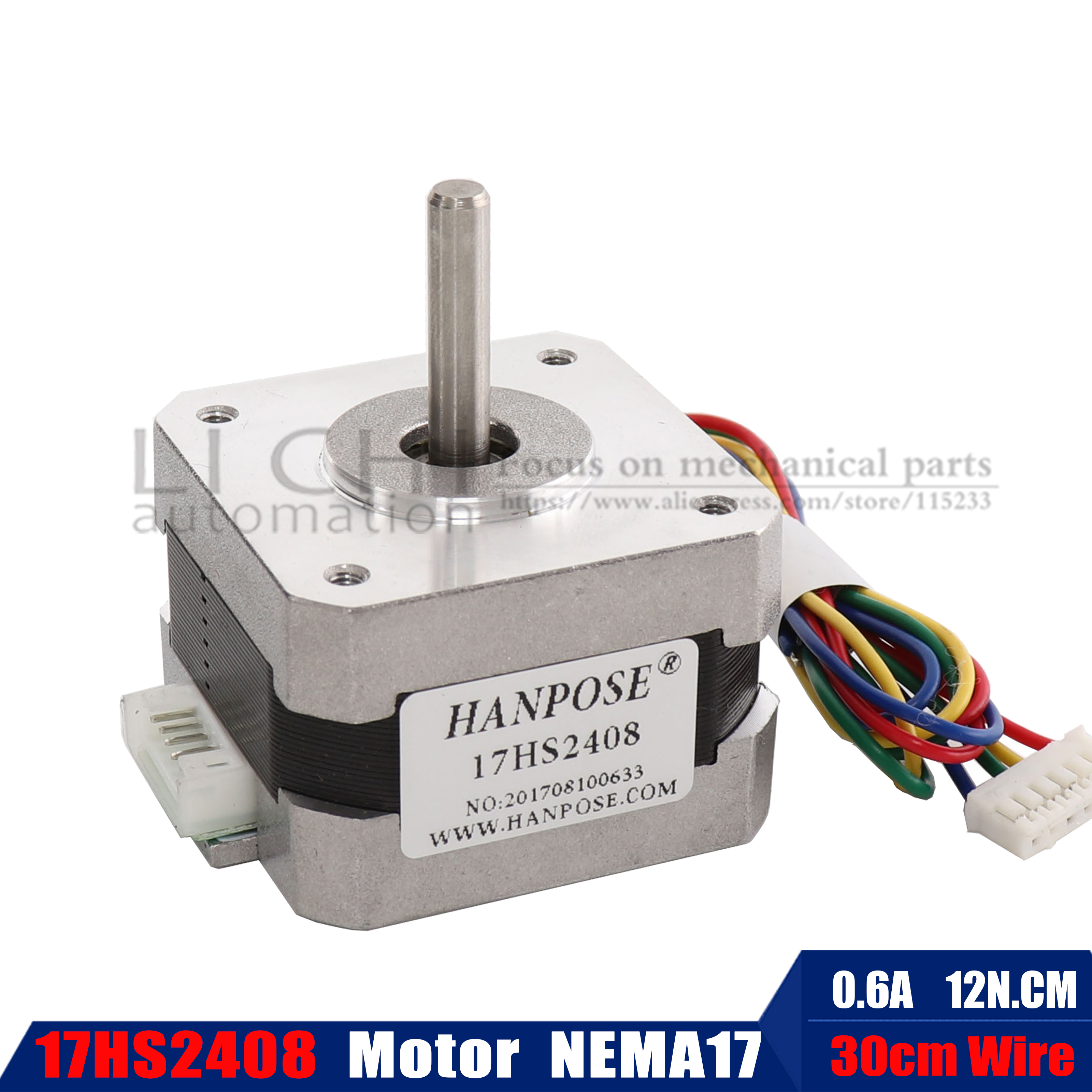 1pcs / Lots 17HS2408 4-lead Nema 17 Stepper Motor 42 Motor 42BYGH 0.6A CE ROSH ISO CNC Laser Grind Foam Plasma Cut