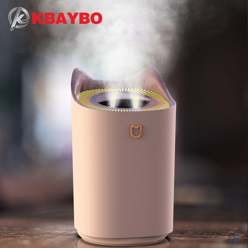 KBAYBO 3300ml Large Capacity  Humidifiers Air Diffusers Humidifier Silent Fog With 7 LED Color Cycle Lights For Home Or Office