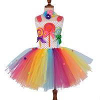 Конфетная пачка для девочек; платье для девочек; Детские фатиновые платья с леденцами на день рождения; яркое детское платье; костюм на Хэлл...