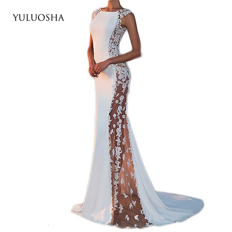 YULUOSHA Evening Dress 2020 Sexy O-Neck Sleeveless Applique Evening Party Prom Formal Gowns Long Dresses Vestidos Robe De Soiree