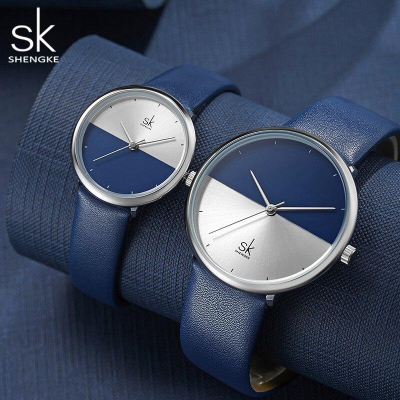 SHENGKE Fashion Lover's Watch Simple Minimalism Blue Silver Leather Couple Watches Women Men Quartz Waterproof Gift Clock