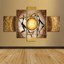 Hand painted Abstract Yellow Sun Women Oil Paintings On Canvas High Quality 5 Pcs oil paintings modern Home Wall Art Decoration