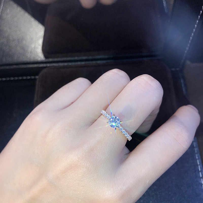 LETAPI 925 เงิน 1.5ct AAA Zircon แหวนหมั้นหญิง Rose Gold สีคริสตัลแหวนสำหรับผู้หญิง