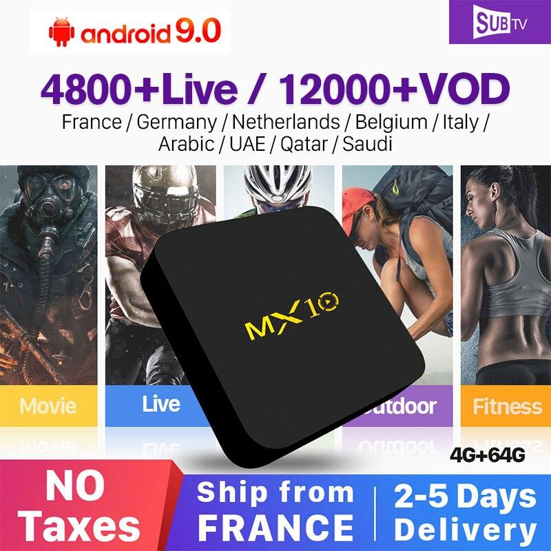 IP TV France Arabic IPTV SUBTV MX10 Box Android 8.1 4+64G Portugal Turkey Subscription Support 4K