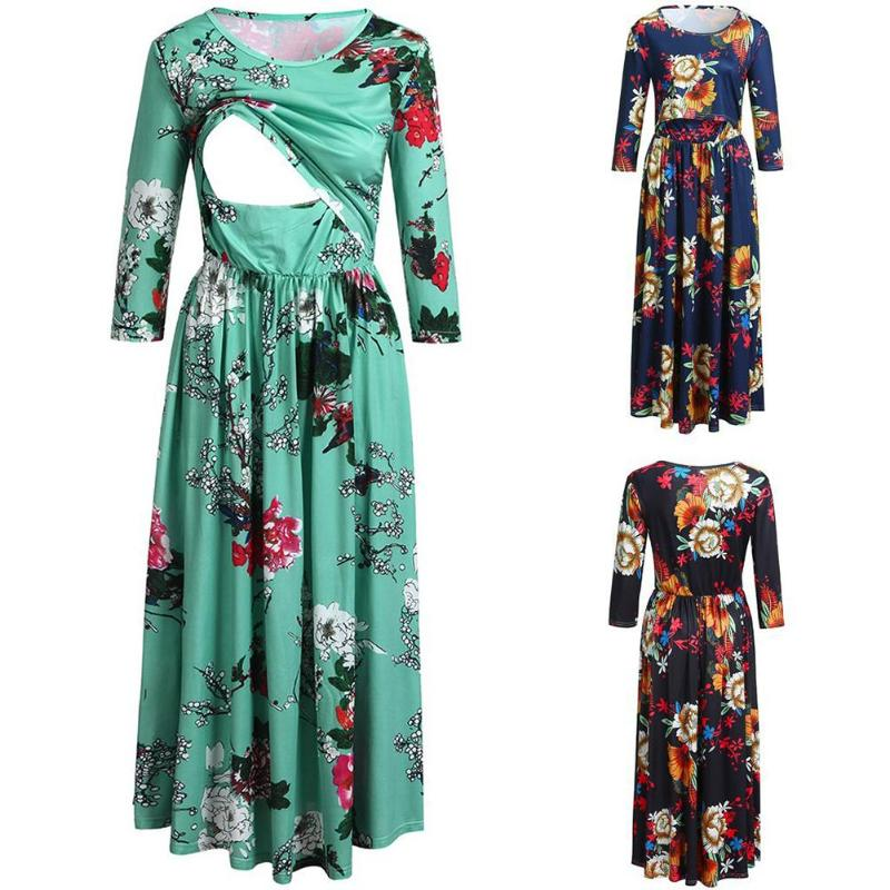 Women Casual Breastfeeding Dress Female Floral Printing Long Sleeve Patchwork Maternity Pregnant Clothes Women O-Neck Dresses