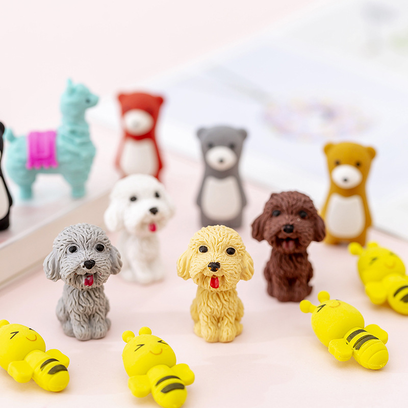 1pcs Kawaii Cartoon Animal Dog Cat Bear Bee Cute Small Mini Pencil Eraser For Kids Gift School Kawaii Animal Rubber Eraser