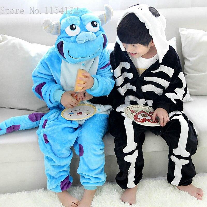 Image 4 - Unisex Kigurumi Clothing Skeleton & Sullivan Animal Pajamas sleepwear Jumpsuit kids clothes baby rompers Flannel Onesies costume