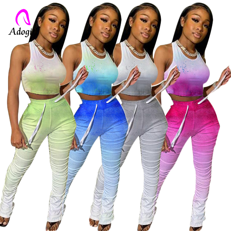 Gradient Women 2 Piece Sets Summer Tracksuits Fitness Tie-dye Print Tops+ Stacked Pants Suit Sexy Street Outfits 2 Pcs Outfits