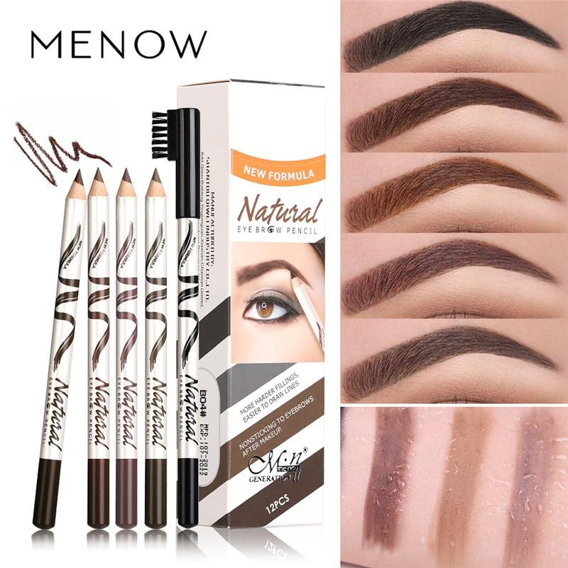 1Pcs Eyebrow Waterproof Black Brown Coffee Eyebrow Tattoo Pencil Long-lasting Eyebrow Enhancer With Brush Makeup Cosmetic Tools