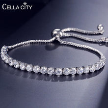 Cellacity Trendy Simple Design Silver 925 Jewelry Gemstones Bracelet for Women Rose Gold Color Length Adjustable Dating Gift(China)