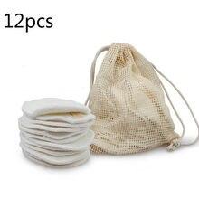 12PC tamponi di cotone riutilizzabili tamponi di rimozione del trucco lavabili rotondi di bambù tamponi per il trucco panno cuscinetti per allattamento strumento per la cura della pelle pulizia della pelle