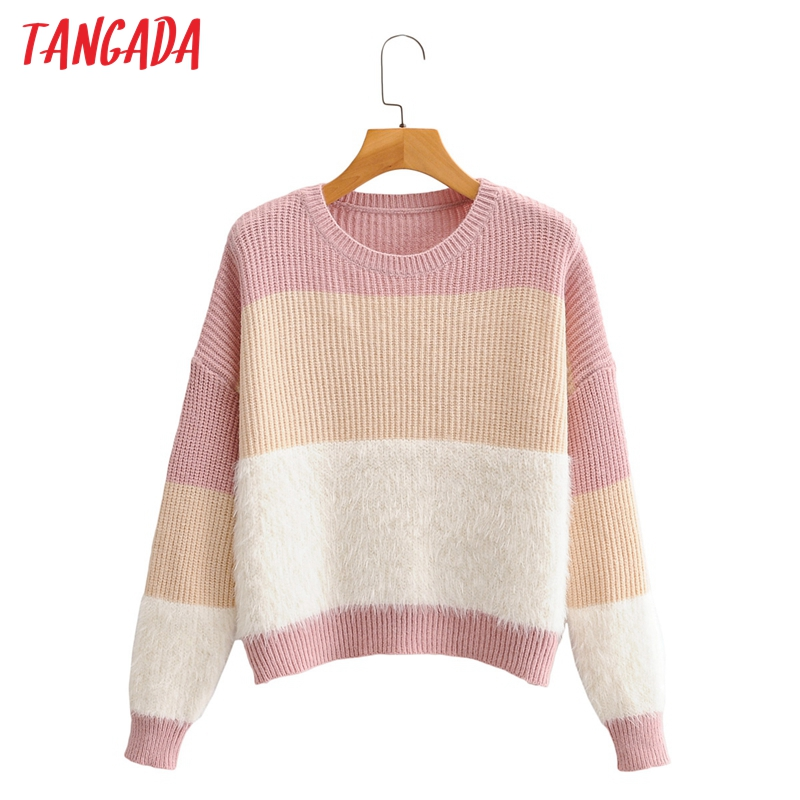 Tangada – pull à col rond en cachemire pour femme, tricot de couleur rose, de haute qualité, collection automne 2020, SY273