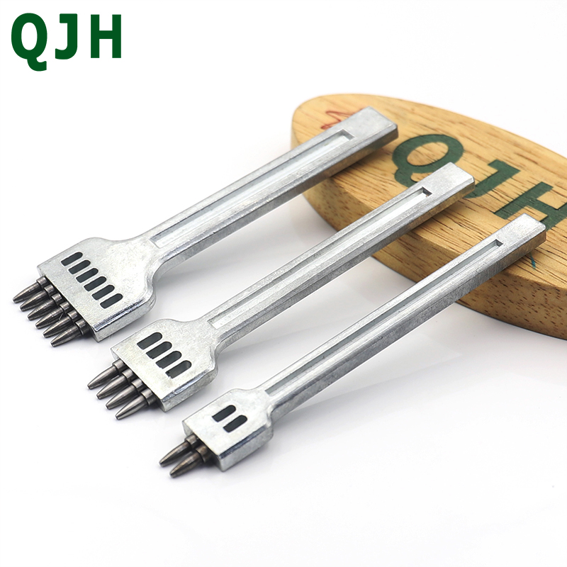New Durable Leather Chisel Round Hole Punch Stitching Tool Pricking Iron Leather Craft Tool Leather Hole Punches 4mm 2-4-6 Teeth