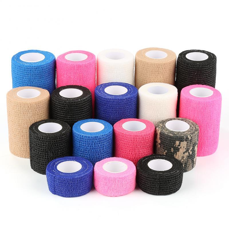 2.5cm*4.5m Self Adhesive Wrap Tape Elastic Bandage Ankle Knee Arthrosis Protector First Aid Medical Health Care Treatment Gauze