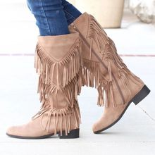 цена на HEFLASHOR Winter Boots Boho Fashion Flock Leather Women Shoes Fringe Flat Heel Long Boots Woman Tassel Knee High Boots Plus Size