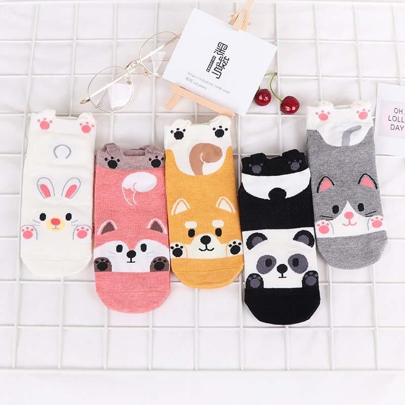 2 Pairs Autumn Winter Fashion Animal Women Cotton Socks Panda Fox Rabbit Dog Korea Harajuku Cute Girls Casual Happy Funny Socks