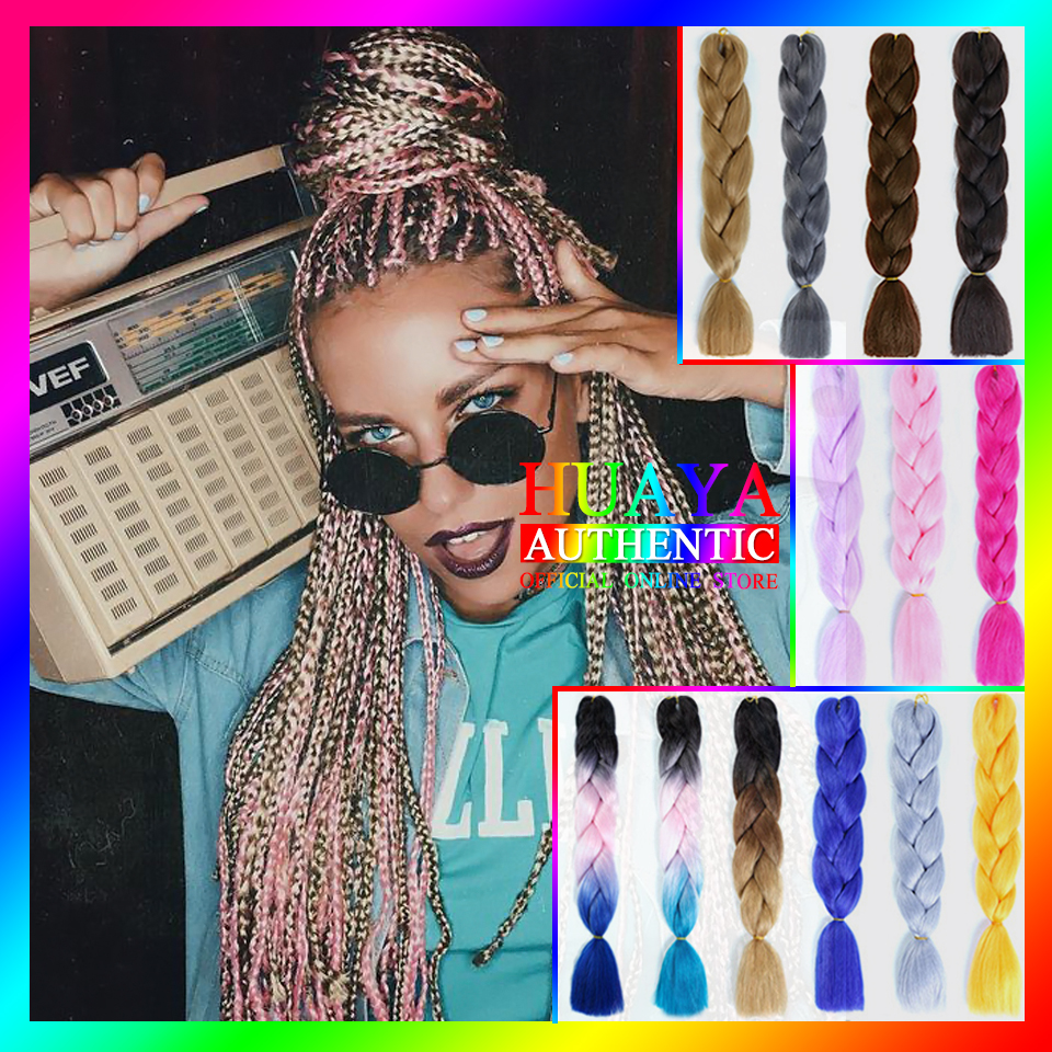 HUAYA Color Hair Extension Braids  Synthetic Jumbo Braid Crochet Hair Women's Ombre High Temperature Fiber Rainbow Fake Hair