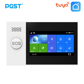 цена на PGST PG-107 Tuya Wireless Home WIFI GSM GPRS Burglar Home Security With Motion Detector Sensor Burglar Alarm System APP Control