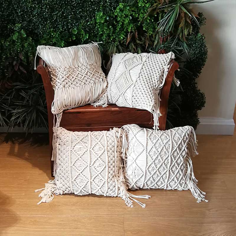 Home Cotton Thread 45X45cm Bohemia Ethnic Beige Macrame Pillow Cover Cushion Geometry Hand-woven Tassels