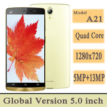 4g lte versão global smartphones a21 2g ram + 16g rom 5.0 polegada quad core 5mp + 13mp nfc telefones celulares android celuares 1280x720