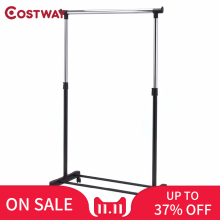 COSTWAY Adjustable Rolling Clothes Hanger Coat Rack Floor Hanger Storage Wardrobe Clothing Drying Racks With Shoe Rack W0498