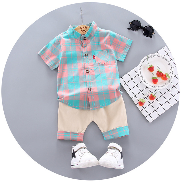 2020 summer  Boys shirt and Shorts Pants 2 pieces Clothing sets children's clothing Baby Boys clothes Children's Clothes Sets 4
