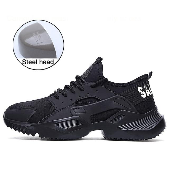 حذاء رجالي حذاء امن للعمل خفيف الوزن ومريح عدم الانزلاق غطاء صلب لأصبع القدم مقاومة للاهتراء تنفس أحذية عمل