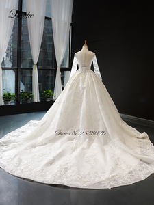 Image 2 - Liyuke Scooped Neckline Ball Gown Wedding Dress With Elegant Chapel Train Wedding Gown Full Sleeve