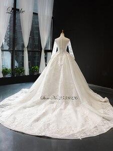 Image 2 - Liyuke scoped decote bola vestido de casamento com capela elegante trem vestido de casamento manga cheia