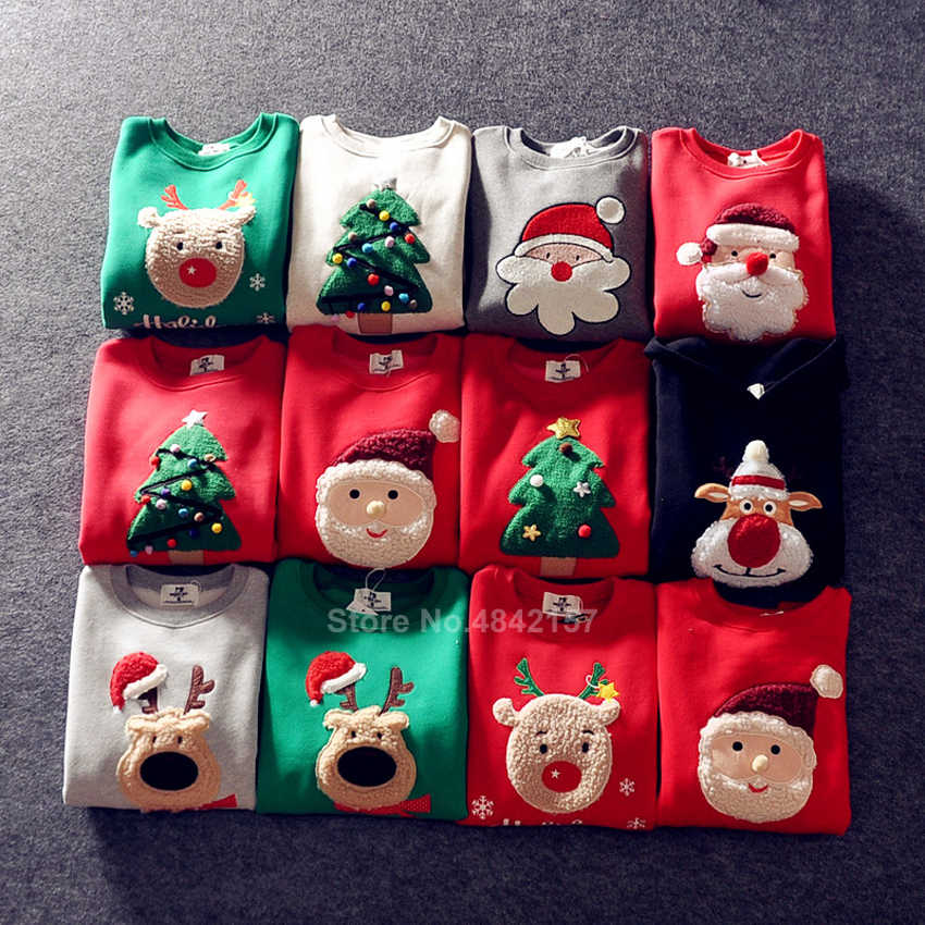 19colors 2020 New Year Family Christmas Sweaters Xmas Hoodies Pajamas Warm Santa Claus Elk Embroidery Adult Kids Sweatshirt Gift