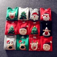 19colors 2021 New Year Family Christmas Sweaters Xmas Hoodies Pajamas Warm Santa Claus Elk Embroidery Adult Kids Sweatshirt Gift