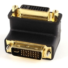 цена на DVI-I 24+5 Pin Male to Female Right Angled Adapter LCD Monitor Connector
