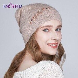 Image 1 - ENJOYFUR новые женские зимние шапки с двойной подкладкой Женская кепка со стразами Ангорский кролик толстые осенние вязаные шапки